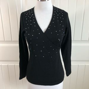 INC Black Rhinestone Merino Wool V-Neck Sweater SP